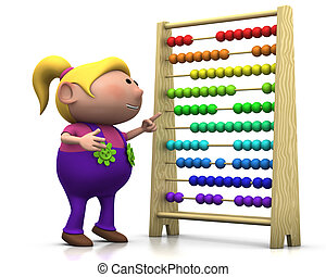 girl with abacus - 3d renderingillustration of a cute...