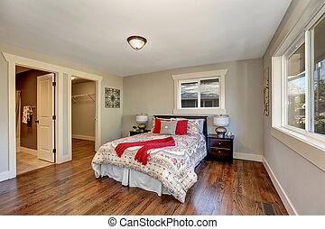 bois dur, vue, chambre à coucher, rangé, plancher