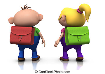 first day of school - cute cartoony boy and girl with...