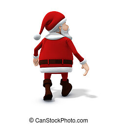 santa walking away - 3d renderingillustration of a cartoon...