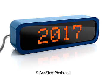 Led display of 2017 new year, isolated on white