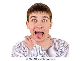 Nervous Young Man - Nervous Teenager strangle himself...