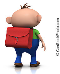 first day of school - boy walking away - cute boy with a...