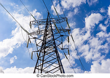 High voltage electricity pylon system on the sky background.