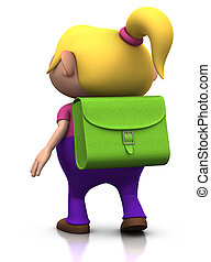 first day of school - girl walking away - cute girl with a...