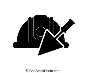 safety helmet and trowel icon - flat design safety helmet...