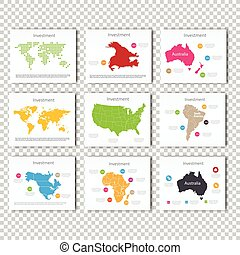 Collection Business Investment World, USA, Australia, North America, Africa Maps Presentation slide Template