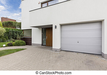 Front of modern house - Modern front house entrance with one...