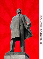monumento, a, Vladimir, Lenin, -, líder, de, el, ruso,...