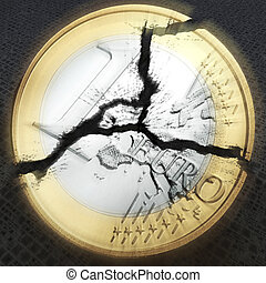 Euro - digital visualization of an broken euro coin