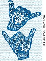 Shaka hand sign