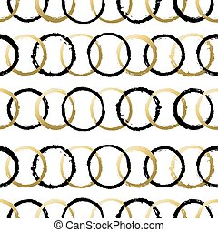 Seamless pattern with grunge gold circle shapes