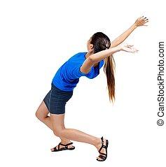 Balancing young woman.