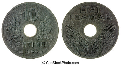 10 centimes 1944 coin isolated on white background, France -...