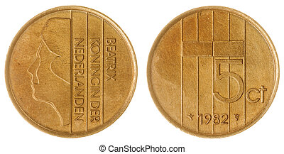 5 cents 1982 coin isolated on white background, Netherlands...
