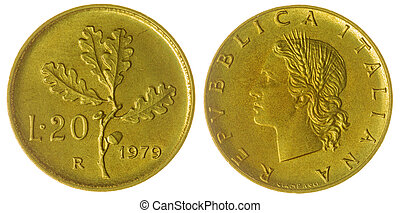 20, lire, 1979, moneda, aislado, en, blanco, Plano de fondo,...