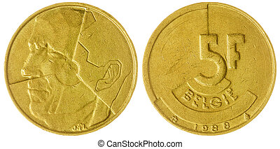 5 francs 1988 coin isolated on white background, Belgium -...