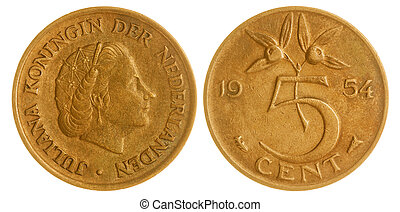 5 cents 1954 coin isolated on white background, Netherlands...