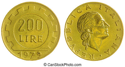 200 lire 1979 coin isolated on white background, Italy -...