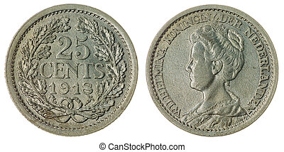 25 cents 1918 coin isolated on white background, Netherlands...