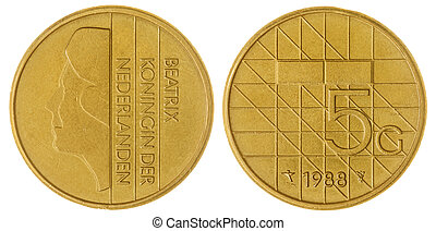 5 gulden1988 coin isolated on white background, Netherlands...
