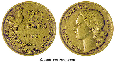 20 francs 1951 coin isolated on white background, France -...