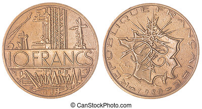 10 francs 1980 coin isolated on white background, France -...