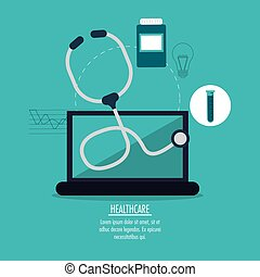 medical technology gadget design - laptop stehoscope medical...