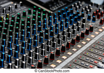 controls of sound mixing console
