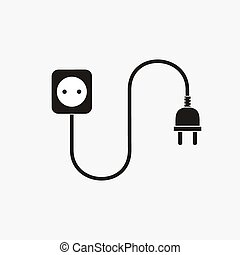 Wire plug and socket - vector illustration Concept...