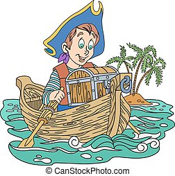 Pirate and treasure - Illustration of pirate boy with a...