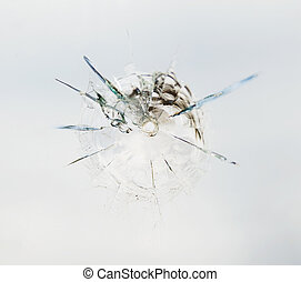 Bullet hole in the glass - Round bullet hole in the glass...