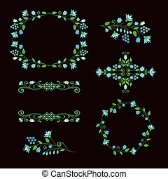 Floral design elements set, ornamental frames.