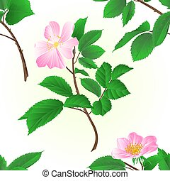 Seamless texture twig wild roses vector illustration.eps -...