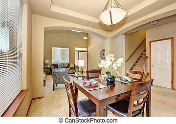 Open floor plan. Dining area and living room with entryway....