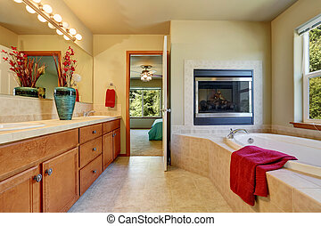 Master bathroom with fireplace, large vanity cabinet