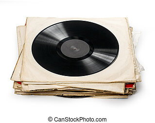 Used vinyl records with shaddow on white background