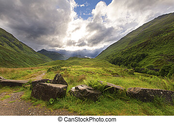 Green and lush glen in Scotland highlands after rain - Green...