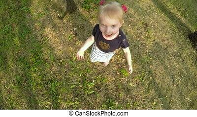 Girl jumping at nature