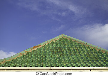 Green Roof Tiles - Green roof tiles set against blue sky...