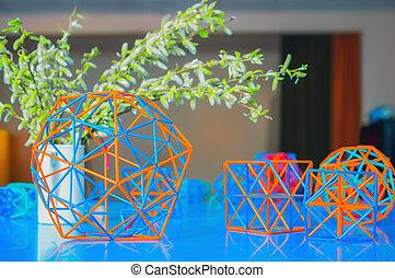 volumétrico, coloreado, modelos, de, geométrico, sólidos