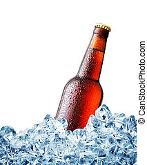Brown misted over bottle of beer on ice