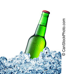 Green misted over bottle of beer on ice