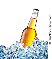Yellow misted over bottle of beer on ice