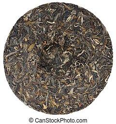 Myanmar raw puerh tea with stone impress isolated
