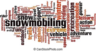 Snowmobiling.eps - Snowmobiling word cloud concept. Vector...