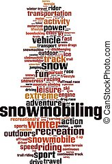 Snowmobiling vertical - Snowmobiling word cloud concept...