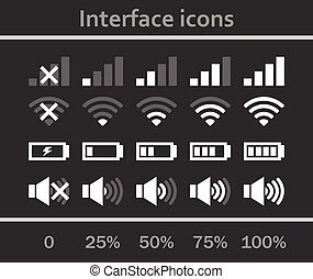 Interface icons set. Status signal battery icon set vector....