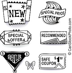Black-white set of promotional sales english text labels,...