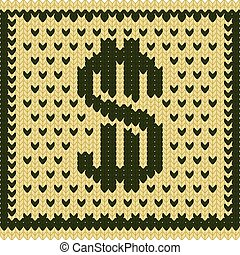 Knitted dollar scheme - Knitted dollar green beige scheme...
